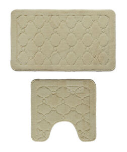 Extra Soft 2 Pieces Bathroom Bath Rug Pedestal Mat Set Contour and Bath Mat