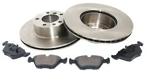 For BMW 5 7 Series E32 E34 Front Brake Disc and Pads Kit Set