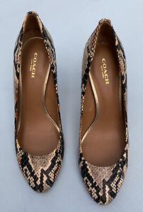 Coach Shoes 7.5 Nala Snakeskin Heels Beige Black Pumps Round Toe