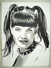 Canvas Painting Pauley Perrette NCIS Abby Sciuto B&W Art 16x12 inch Acrylic
