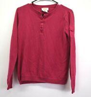 Talbots Women Medium Linen Cotton Blend Henley Neck Spring Knit Sweater Top Pink