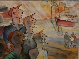 UNUSUAL PAINTING SIGNED E MUNSEY 1997 POLITICAL MINING MINERS OUGHTIBRIDGE RARE