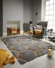 Verge Honeycomb Grey Ochre Handcarved Thick 3D Shaggy Rug in various sizes
