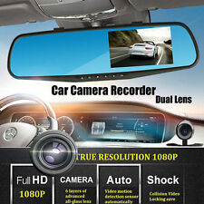 """HD 1080P 4.3"""" double lentille voiture DVR rétroviseur Dash Cam caméra vidéo enregistreur"""