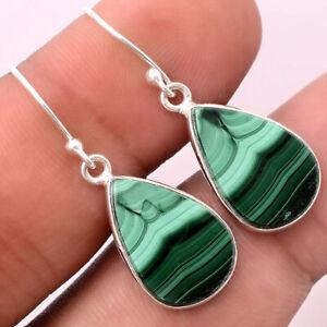 Natural Malachite Eye - Congo 925 Sterling Silver Earrings Jewelry 5828