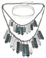 Set Western Bar Dangle Necklace Multi-Strand Layered Stainless Steel Bracelet