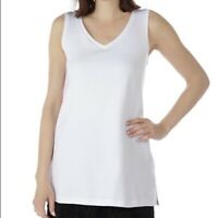 NEW Isaac Mizrahi Live! Essentials Scoop Neck Tunic White Tank Top Size XS