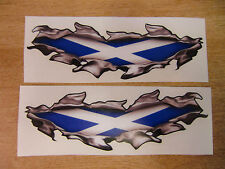 """Torn/Ripped Paintwork """"Scottish Flag"""" Saltire stickers - 400mm decal pair LARGE"""