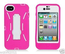 Apple iPhone 4 4S S Armor Hybrid Case Skin Cover w/ Kickstand Pink White