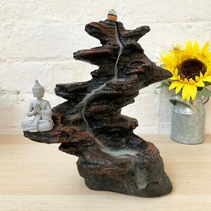 Stone Buddha Backflow Incense Cone Smoke Mountain Waterfall Burner Large Gift