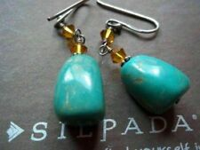 Silpada Sterling Silver Bead Golden Glass Stabilized Turquoise Earrings W1290