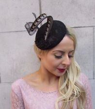 Black Pheasant Statement Feather Pillbox Hat Fascinator Races Cocktail Vtg 4472