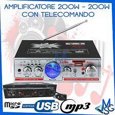 AMPLIFICATORE STEREO MP3 MICRO SD USB IN FILODIFFUSIONE TELECOMANDO HI-FI