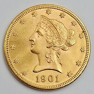 1901 Gold $10 Dollar Coin Liberty Coronet Head Eagle US United States 16.5g