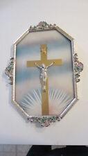 Vintage Pastel Floral Art Deco & Convex Glass Metal Framed Crucifix Wall Hanging