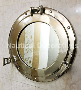 "15"" Canal Boat Halloween Window Nickel Finish~Wall Hanging Mirror Porthole"