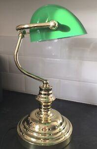 Bankers Desk Lamp Office Reading Lamp Glass Umbrella Green Retro