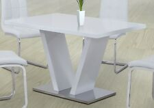 CONTEMPORARY WHITE HIGH GLOSS DINING TABLE WITH WHITE GLASS AND CHROME BASE