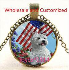 Yorkshire Terrier and Flag Cabochon bronze Glass Chain Pendant Necklace TS-4738