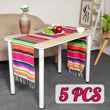 5PCS/Set Mexican Serape Table Runner Tablecloth Cotton Festival Party Home Decor