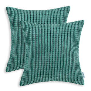 2Pcs Teal Cozy Throw Pillows Cover Shells Corn Soft Corduroy Striped Home 24x24""