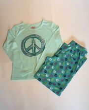CIRCO Peace Blue Long Sleeve Tee Pants PJs PAJAMAS M 7/8 NWOT
