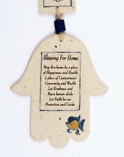 Home Blessing House Ceramic Wall Hanging Hamsa Hand Made, Jewish Pottery Art