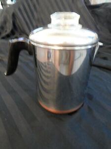 VINTAGE REVERE WARE 1801 COFFEE POT STOVE TOP COPPER CLAD PERCOLATOR