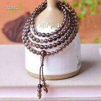 Natural Smoky Quartz Brown Gemstone 108 Prayer Beads Bracelet Necklace 8mm AAAA
