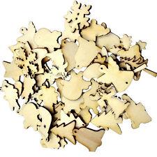 50pcs Wood Christmas Embellishment For Scrapbooking Crafts DIY Xmas Decor Gifts
