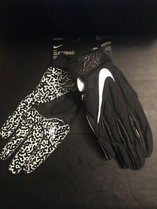 New Nike SuperBad 5.0 Football Gloves Black/White Men's Pair Large