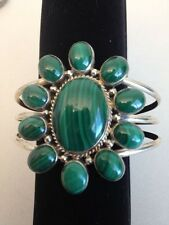 Lovely Malachite Flower Sterling Silver bracelet Navajo C Spencer signed