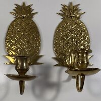 """Vintage Set Of 2 Brass Pineapple Wall Sconce Candle Holders 9"""" Nice Patina 🍍"""
