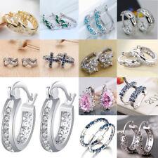 Women 925 Sterling Silver Shinning Earrings Crystal Dangle Hoop Wedding Jewelry