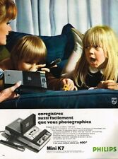A- Publicité Advertising 1969 Magnetophone micro cassette Mini K7 Philips