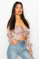 Boohoo Petite Mauve Pink Corset Detail Long Sleeve Blouse Size 14 BNWT RRP £15