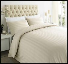 Hotel 250tc 100 Egyptian Cotton Satin Stripe Duvet Quilt Cover Bedding Set Ivory King