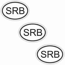 3x Oval Black & White Stickers Serbia Small Country Code Tablet phone Case