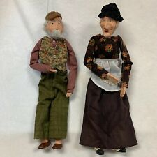 "Marionette Couple Jointed -Papier Mache Vintage Puppets 19"" & 22"" -No Tags"