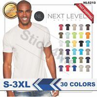 NEW MAN'S BLANK T-SHIRT Premium Fitted Cotton Shirt Next Level NL6210