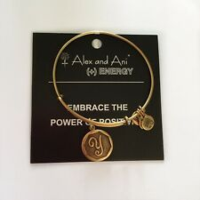 "NEW Alex and Ani Bangle Charm Bracelet Letter Initial ""Y"" Rafaelian Gold"