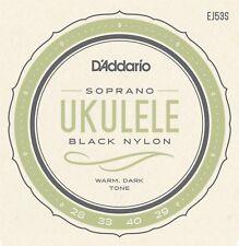 D'Addario Ukulele Strings  Black Nylon  EJ53S  Uke  Pro-Arte Soprano Rectified