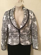 ALBERTO MAKALI Top Jacket Blazer Size 14 Black and White 473826