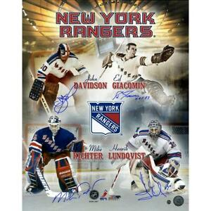 Giacomin, Richter, Davidson, Lundqvist Signed NYR Goalies 16 x 20 Collage Photo