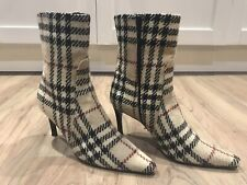 Ladies Burberry Nova Check*Rare*Wool Ankle Boots Euro 40 Uk 7 Made In Italy