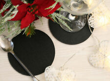 Set of 4 Classic Black Leatherboard Round Coasters - Made in UK