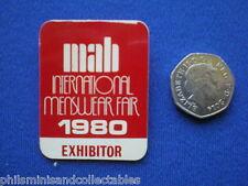 MAB - International Menswear Fair 1980   ' Exhibitor  '  pin badge