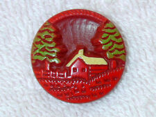 Vintage Buffed Celluloid Button Uncommon Pictorial Scene House, Fence, Trees RED