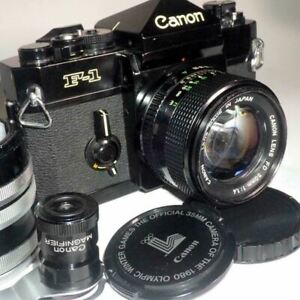 Canon F-1 Late model +NFD50/F1.4 w/ Macro M tube +Magnifier Made in Japan Camera