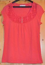 Only Shirt  Pink + Spitze Gr. S Kurzarm Knöpfe Baumwollmischung
